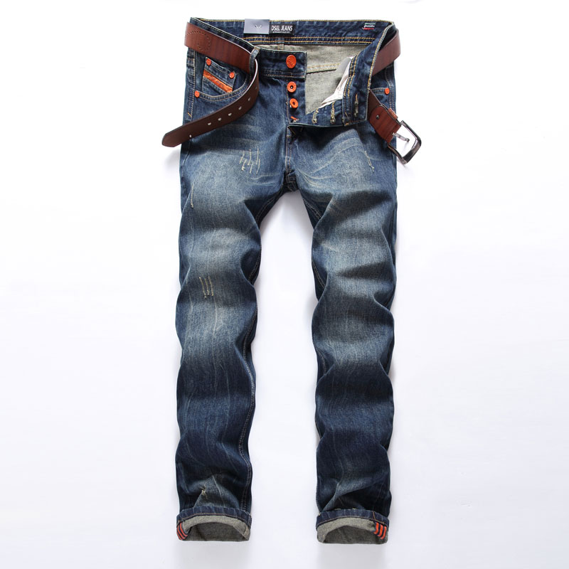 Hot Sale Fashion Men Jeans Dsel Brand Straight Fit Ripped Jeans Italian Designer 100% Cotton Distressed Denim Jeans Homme 2016 new dsel brand men jeans men fashion skinny jeans men men straight fit leisure quality cotton biker jeans denim