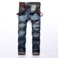 Venta caliente de Los Hombres Jeans De Moda Dsel Marca Straight Fit Ripped Jeans Homme Diseñador Italiano 100% Algodón Denim Jeans Lamentando