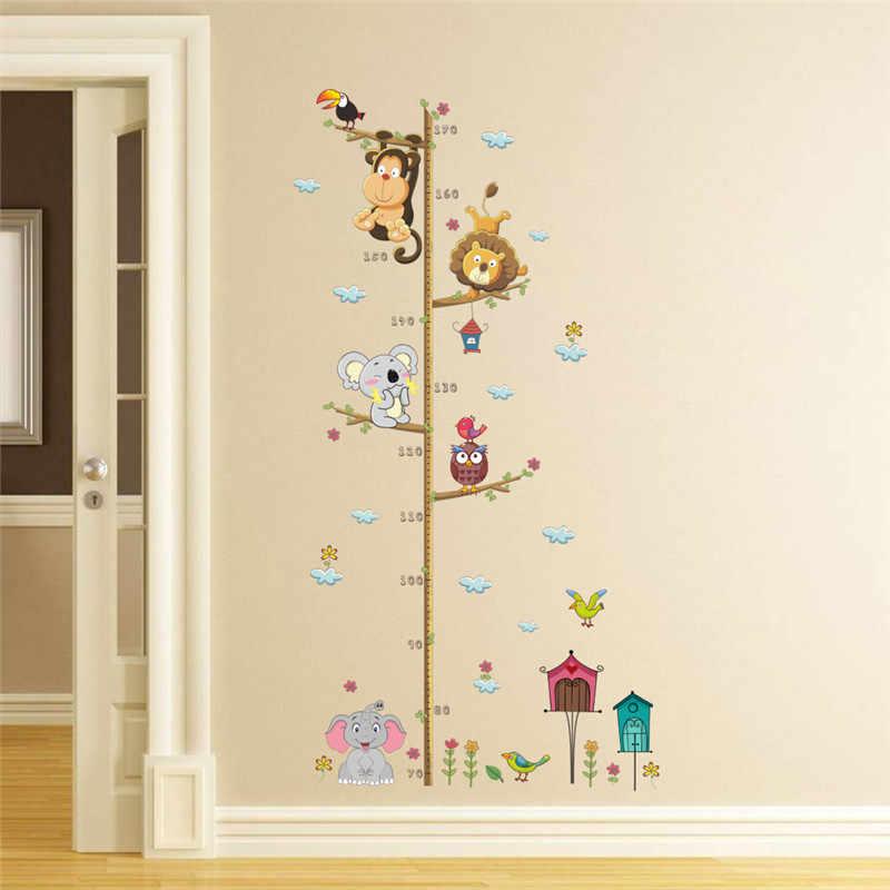 1 pieza dibujos animados animales León mono búho elefante altura medida pared pegatina para habitación de niños tabla de crecimiento Decoración habitación infantil arte de la pared