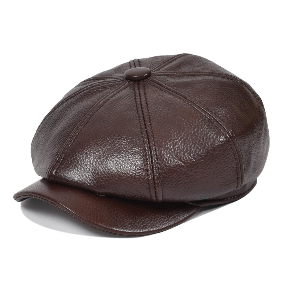 VOBOOM en cuir véritable gavroche casquette béret hommes femmes casquettes Cabbies pilote boulanger garçon chapeau marron 8 panneau Design Gatsby casquette plate 115