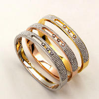 2018 Stainless Steel Crystal Bracelets Bangles 8mm Wide Bangles Gold Color Rhinestone Bracelet Women Jewelry Pulseira