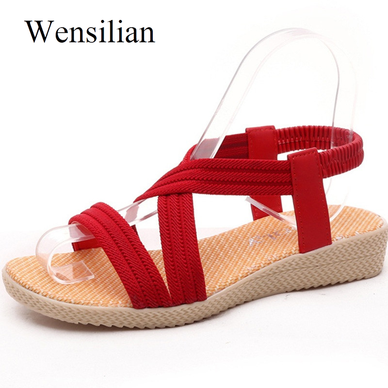 Fashion Summer Gladiator Sandals Ladies Elastic Band Beach Shoes Women Slip On Casual Shoes Red Black Sandals Chaussure Femme new casual women sandals shoes summer fashion slip on female sandals bohemian wild ladies flat shoes beach women footwear bt537