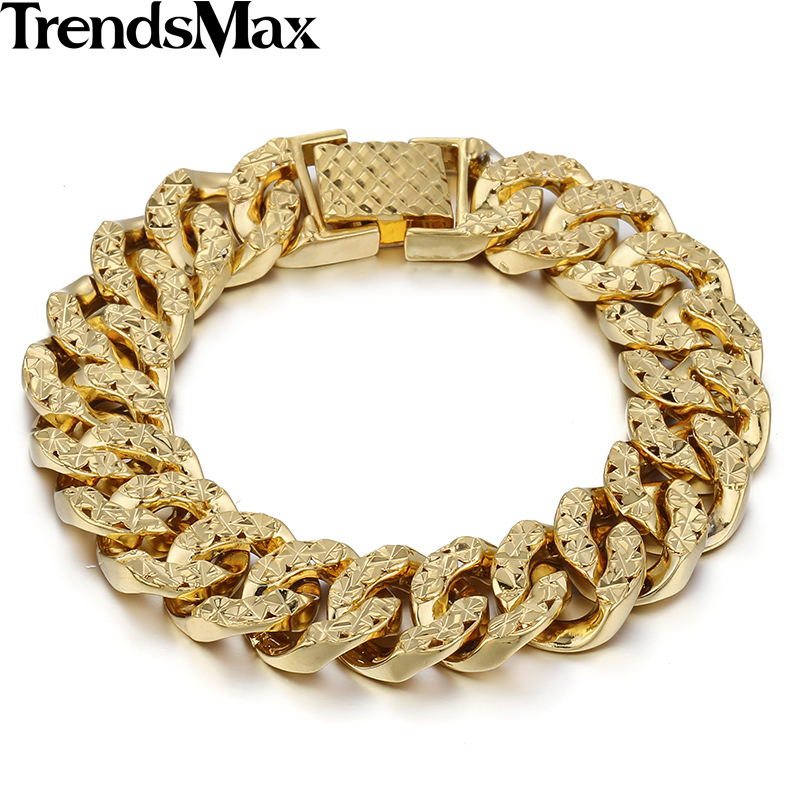 Trendsmax 14MM Wide 19cm Long Womens Girls Fashion Shiny Bracelet Big Hammered Curb Link Yellow Gold