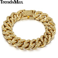 Trendsmax 14MM Wide 19cm Long Womens Girls Fashion Shiny Bracelet Big Hammered Curb Link Yellow Gold Filled Bracelet GB376
