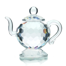 H D Clear Crystal Teapot Figurines Paperweight Crafts Art Collection Souvenir Birthday