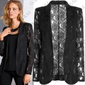 2016 FASHION Womens Coat Slim Ladies Blazer Lace Crochet Lapel Jacket Black Blouse Suit Coat Tops 4 size XQ933