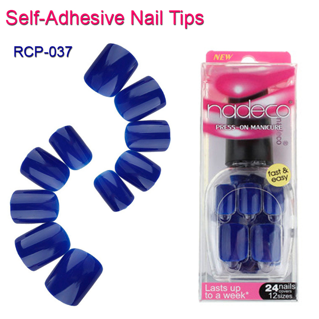 12Sets Full Cover Navy Blue Self Adhesive Fake Nail Polish Tip Blue ...