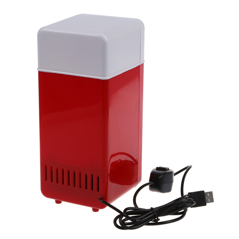 Car Mini Fridge USB Hot And Cold Dual-UseGadget Beverage Cans Cooler Warmer Refrigerator With Internal LED Light