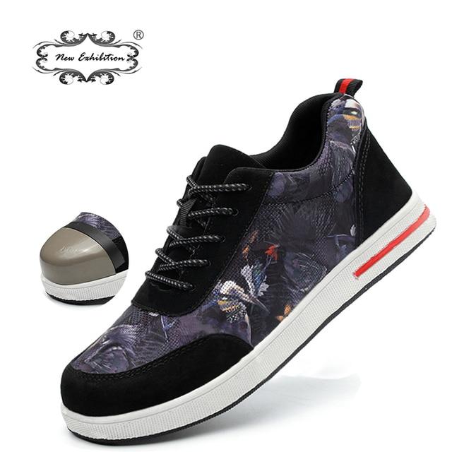 Yeni sergi 2019 Moda Erkek Güvenlik Ayakkabıları Çelik Ayak renk Tuval iş çizmeleri anti-smashing piercing Koruyucu sneaker