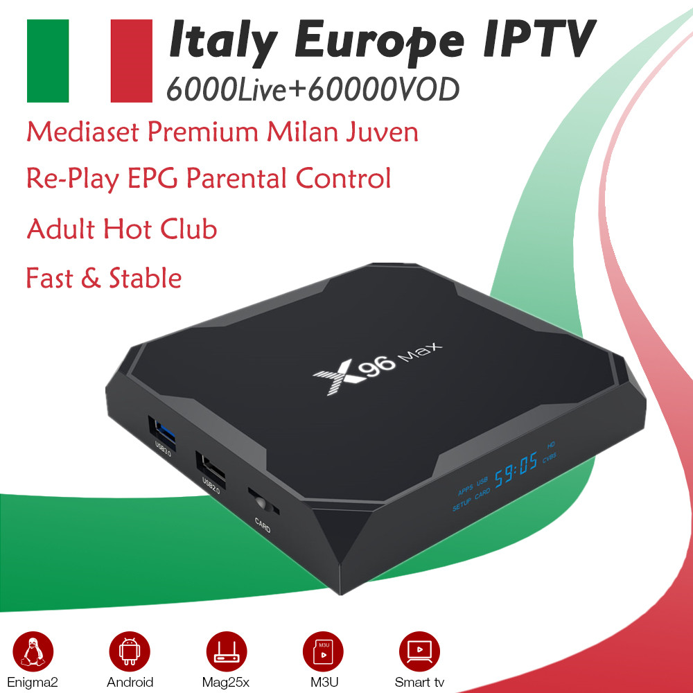 Aliexpress com : Buy GOTiT Italy X96 Max Android 8 1 TV Box Amlogic S905X2  Dual WIFI +6000+ live Super IPTV Albania Portugal Germany Adult Set up Box