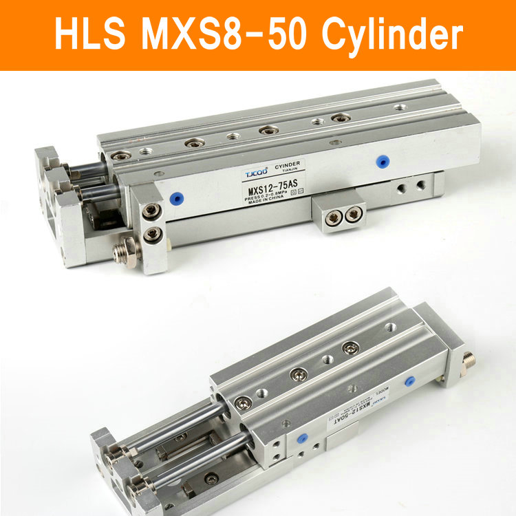 HLS MXS8-50 SMC Type MXS series Cylinder MXS8 50A 50AS 50AT 50B Air Slide Table Double Acting 8mm Bore 50mm Stroke mxh10 25 mxh series double acting air slide table smc type mxh10 25 with high quality