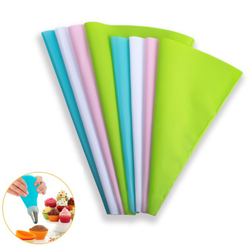 4 Sizes Confectionery Bag Silicone Icing Piping Cream Pastry Bag Nozzle DIY Cake Decorating Baking Tools Only Blue Color
