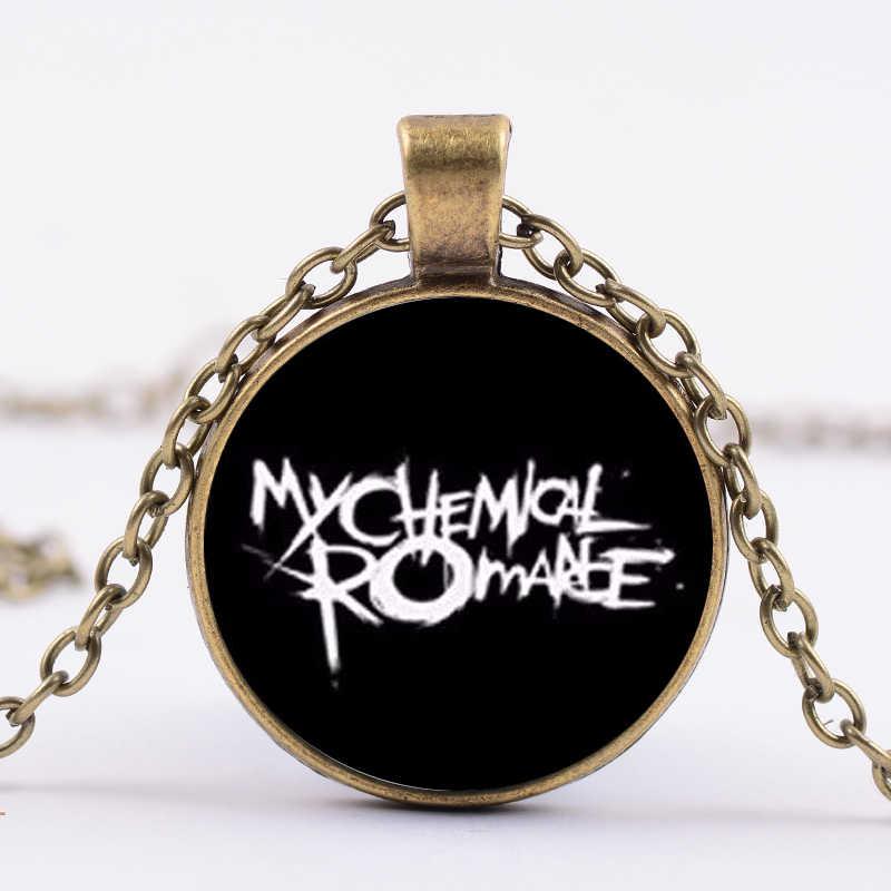 SIAN 2019 nowy My Chemical Romance naszyjnik łańcuch fajne mody 3D drukowane szklaną kopułą wisiorek naszyjnik kobiety mężczyźni Hip Hop harajuku