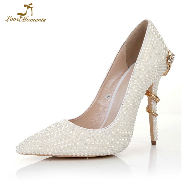 2019 New Designed Ivory Pearl Women Pumps Wedding Bride Shoes Engagement Banquet Party High Heels Pointed Toe Event Prom Pumps2019 New Designed Ivory Pearl Women Pumps Wedding Bride Shoes Engagement Banquet Party High Heels Pointed Toe Event Prom Pumps