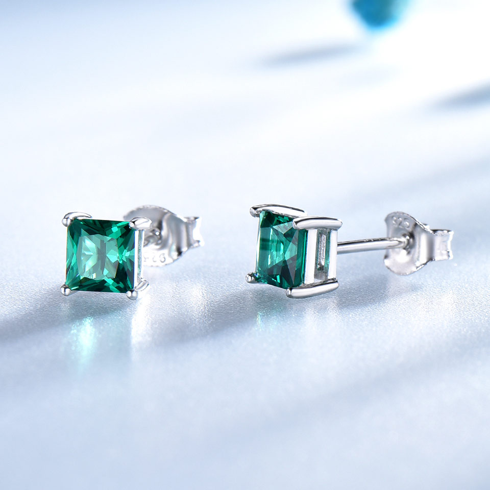 21076b12b362e UMCHO 100% 925 Sterling Silver Emerald Stud Earrings for Women Princess-cut  Gemstone Birthstone Fashion Korea Earrings Jewelry