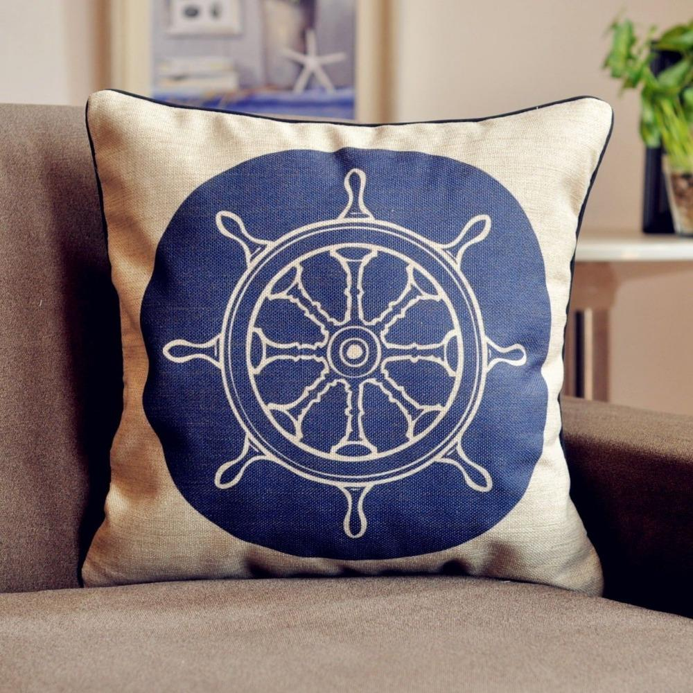 Blue Nautical Theme Rudder Cotton Cushion Cover Linen Pillow Cushion Waist For Office Car Home Decor