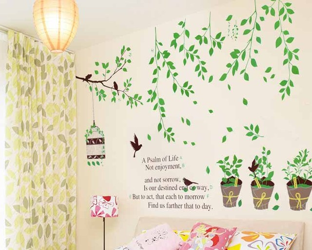 1 pieces green leaves birdcage wall stickers wall decal removable window sticker kid