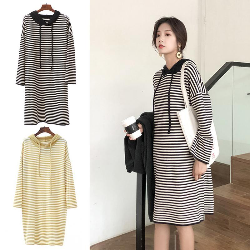 0a6a25149ea28 Autumn And Winter Korean Version Loose Pregnant Women Sweater Skirt Hooded  Long-Sleeved Sweater Bottoming