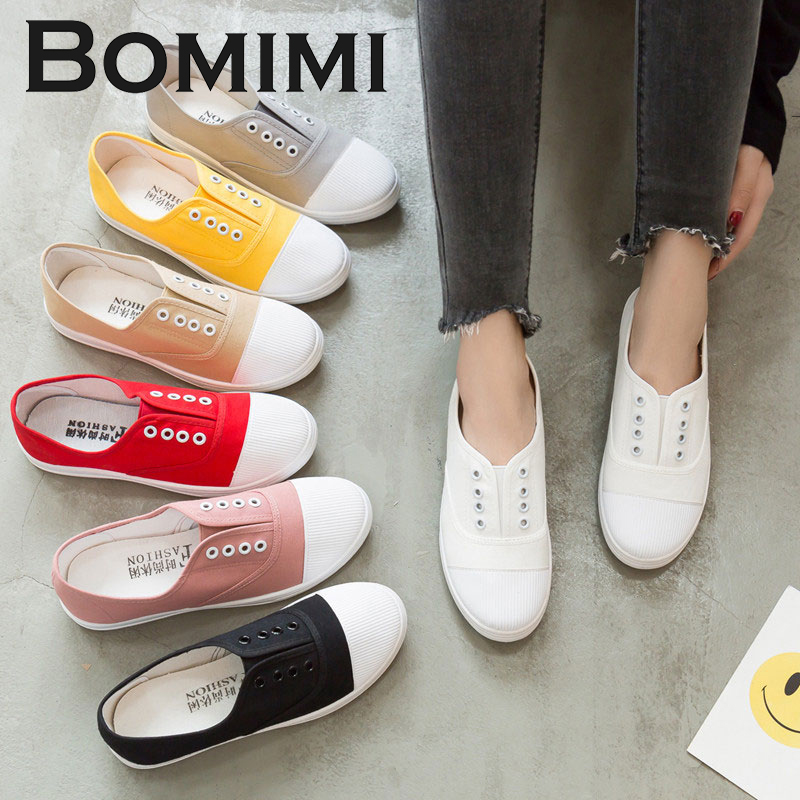 BOMIMI Women Flat Sneakers Women vulcanized sneakers breathable flat casual slip on woman spring and autumn canvas shoes new women s vulcanize shoes spring summer slip on sneakers black casual shoes women breathable hollow out woman sneakers
