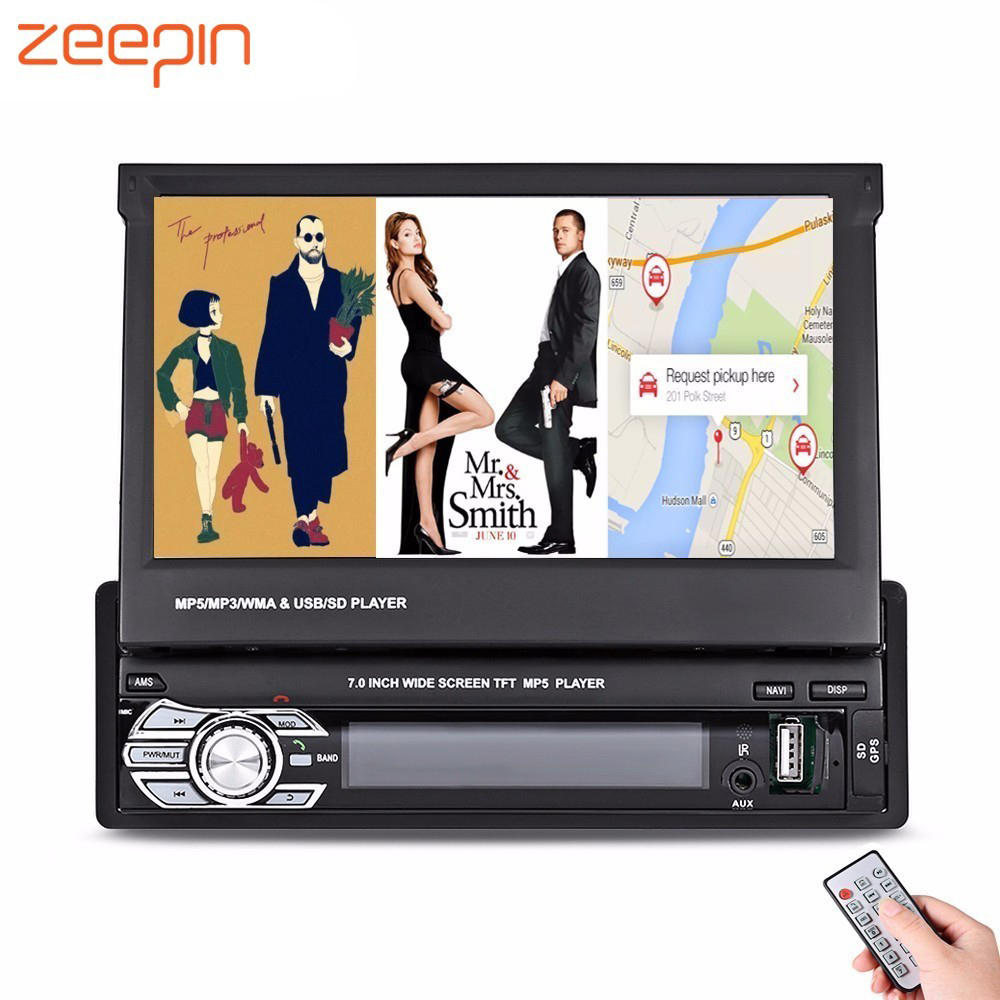 Zeepin 9601G 1 Din Car MP5 Audio Video Player 7 Inch HD Touch Screen Bluetooth FM Radio GPS Auto Multimedia Autoradio With Maps 7021g 2 din car multimedia player with gps navigation 7 hd bluetooth stereo radio fm mp3 mp5 usb touch screen auto electronics