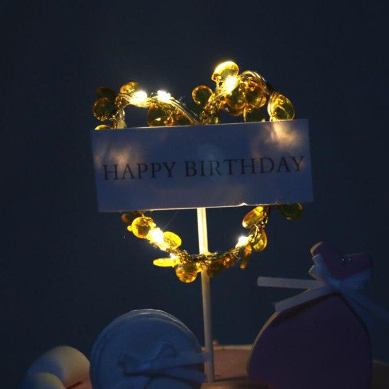 Romantic Led Light Up Rhinestone Cake Topper Dessert Table