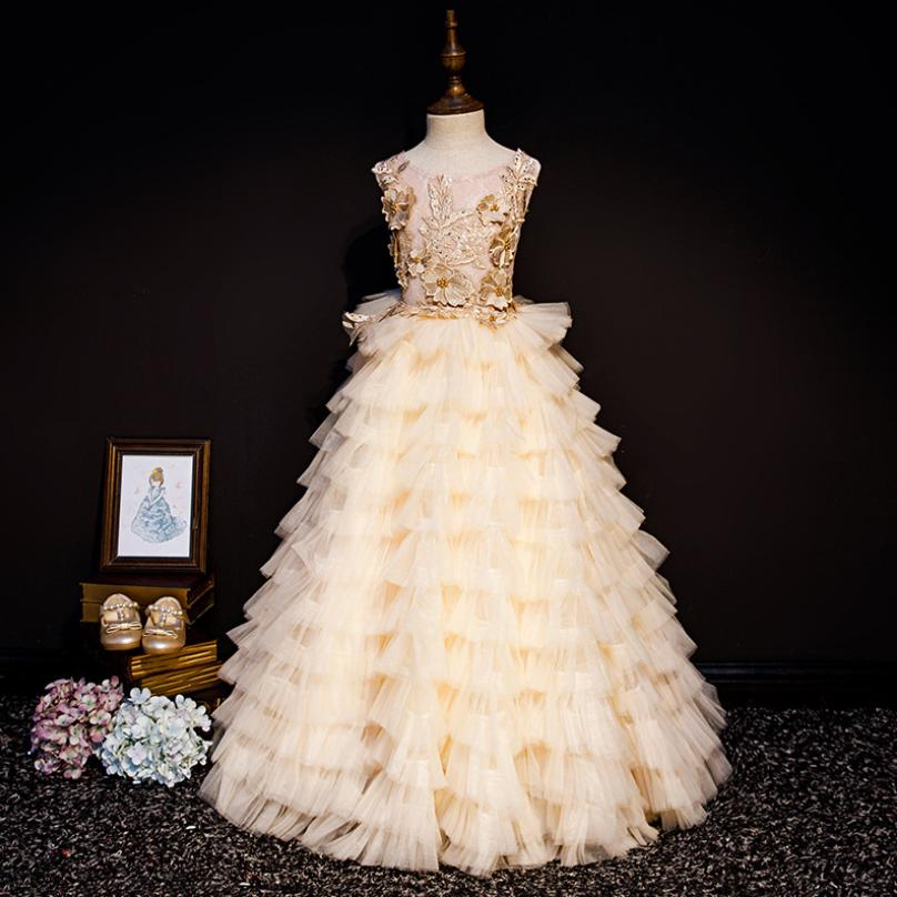 High-end Chilldren Ball Gown First Holy Communion Dress Birthday Party Gown Mesh Spliced Appliques Dress Modis Vestidos Y1660