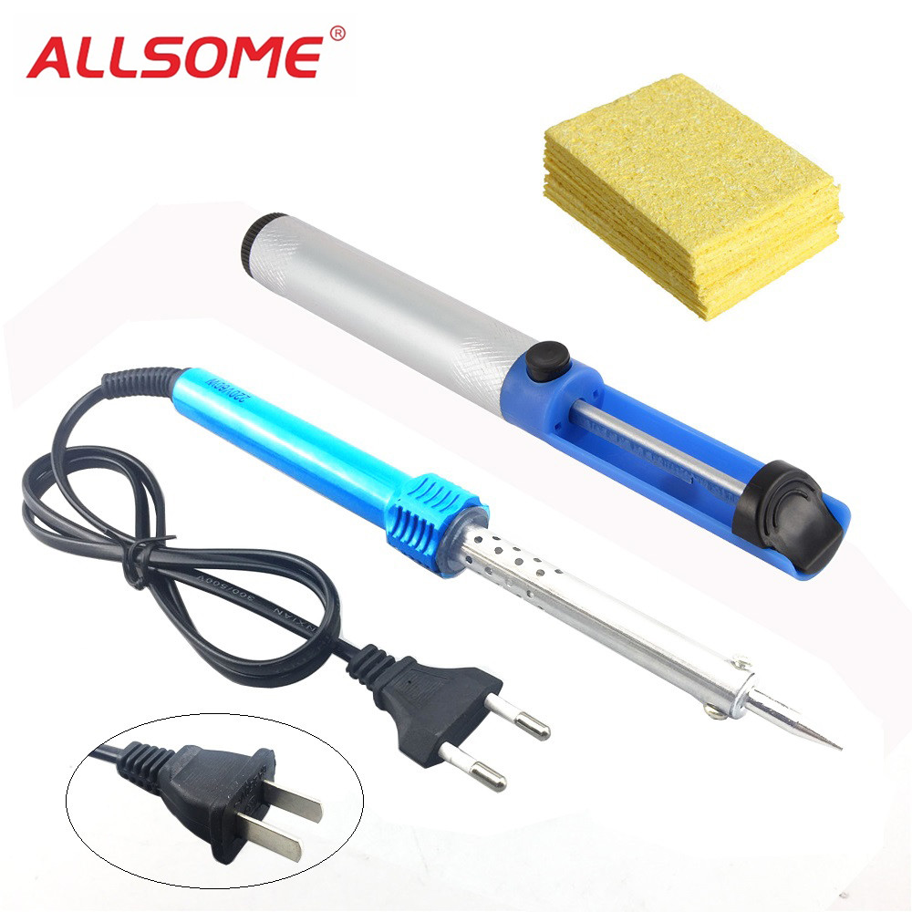ALLSOME 110V/220V 60W Electric Welding Soldering Gun Solder Iron + 10PC Replacement Sponge PCB Cleaning Pads +Solder Sucker Pen+ALLSOME 110V/220V 60W Electric Welding Soldering Gun Solder Iron + 10PC Replacement Sponge PCB Cleaning Pads +Solder Sucker Pen+
