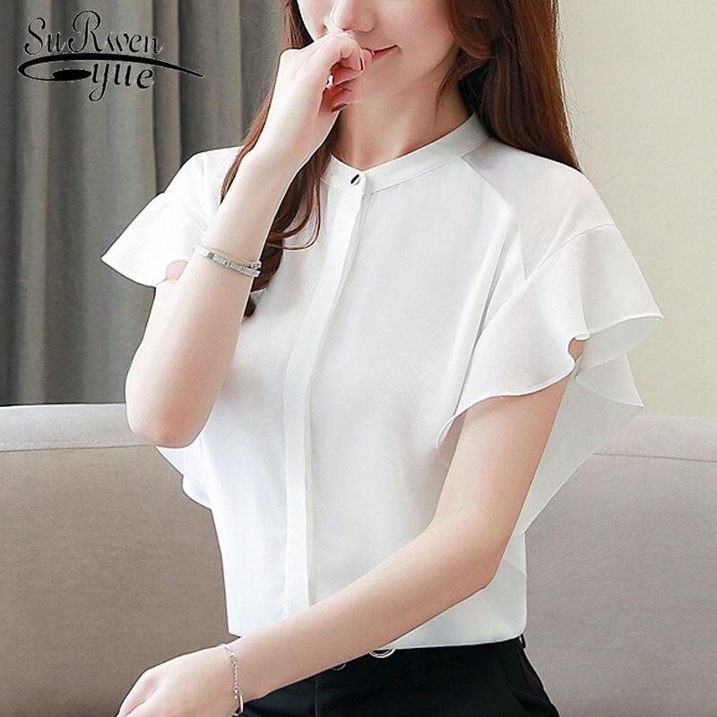 Fashion women tops and blouses blusas mujer de moda 2019 ladies tops white blouse shirt chiffon blouse harajuku short 4280 50