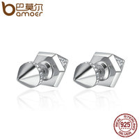 BAMOER High Quality Authentic 925 Sterling Silver Spike Cone Geometric Stud Earrings For Women Fine Jewelry