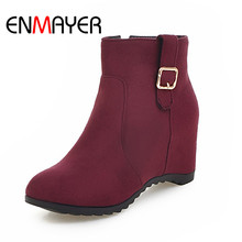 ENMAYER 2018 Ankle Woman Casual Shoes Ladies New Black Middle Heel Fashion Square Heel Zip Boots Size Short Plush 34-43 WHY161 цена 2017