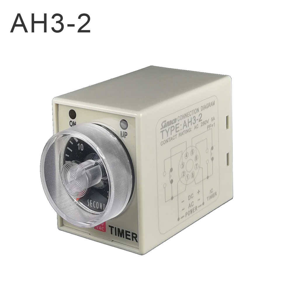2019 latest 1pcs AC/DC universal 24V-240V timer relay AH3-2  time delay relay good quality relay timer