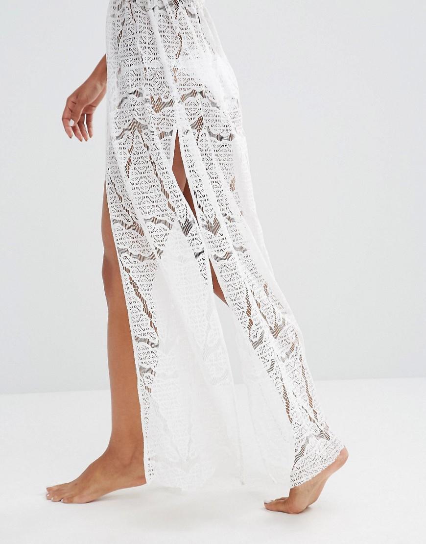 59b50e11c8b40 Summer White Beach Long Kimono Sexy Cover Up Lace Patchwork Bikini ...