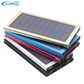 Yfw solar portátil banco de potência ultra fino liga de alumínio 10000 mah tesouro carregador de bateria externa para smart mobile