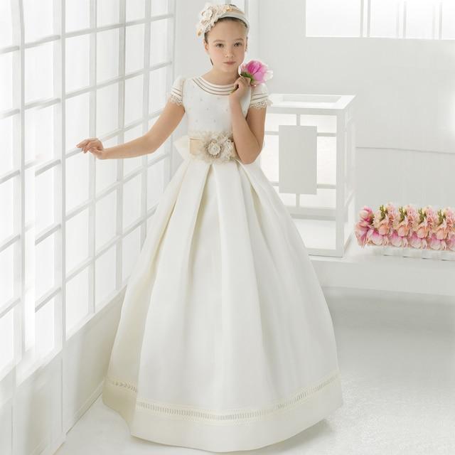 d8220a701 FG1002 Elegante Satinado vestido de Bola de Vestidos de Niña de Marfil  Flores Niñas Vestidos de