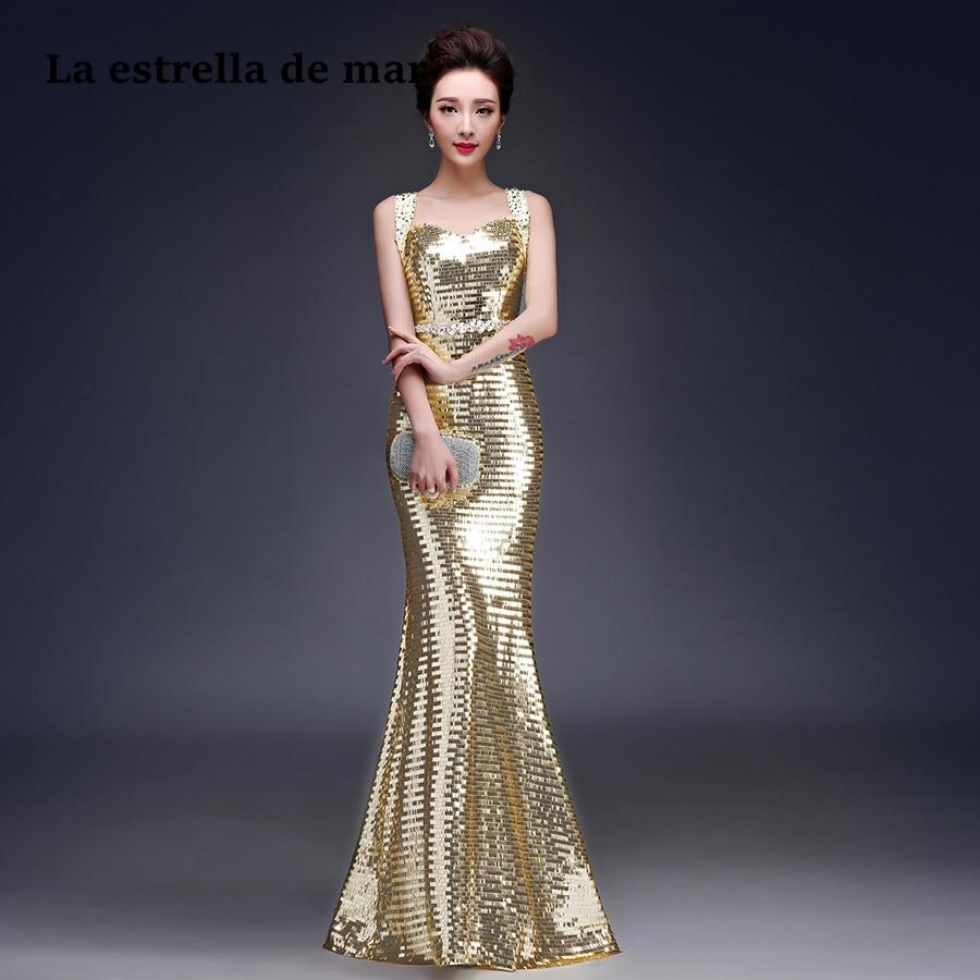 Vestido invitada boda largo2018 new V neck glitter sparkle gold ...