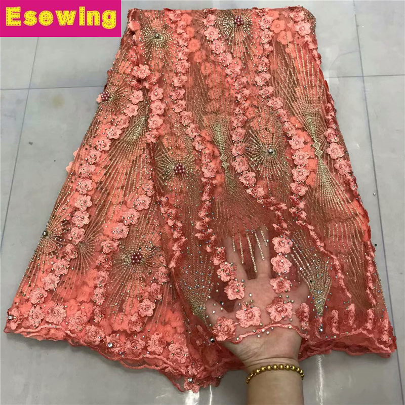 Peach Color 5Yards/lot 2019 High Quality Nigerian French Lace African Lace Fabric For Men/Women Dress Africa Tulle Lace FabricPeach Color 5Yards/lot 2019 High Quality Nigerian French Lace African Lace Fabric For Men/Women Dress Africa Tulle Lace Fabric
