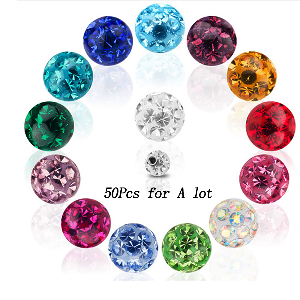 Showlove 50Pcs 16g Or 14g Crystal Ferido Epoxy CZ Stone Ball Piercing Accessories Labret Nose Tragus Cartalige Lip Ring