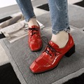 New fashion block heel spring shoes woman leather red black chunky shoes casual ladies heels square toe lace up womens oxfords