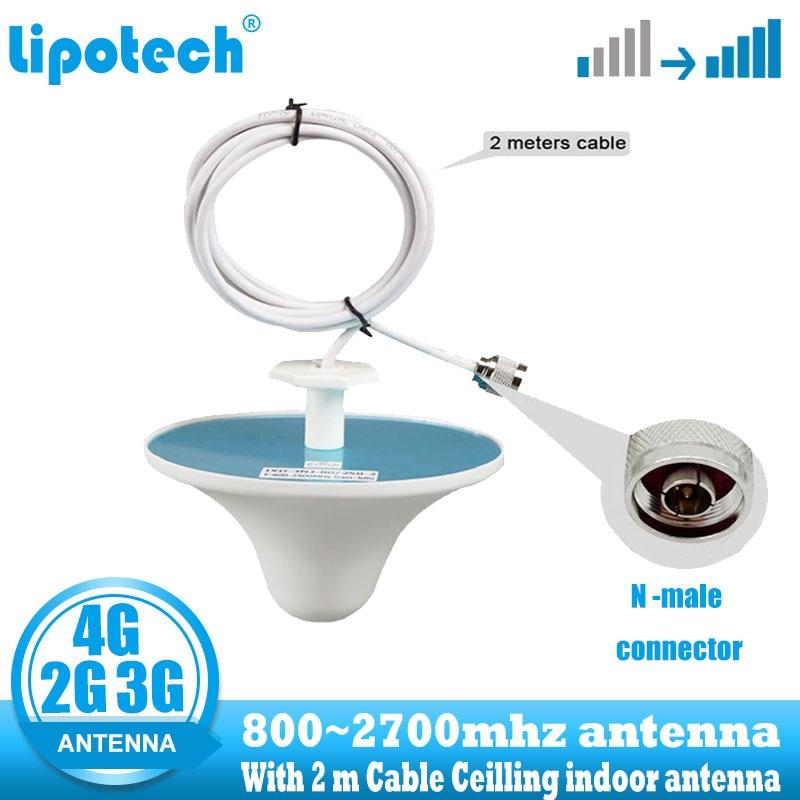Lintratek 2g 3g 4g ceiling antena interna n tipo conector 800-2700hz antena interna do sinal omni do telefone celular com cabo de 2 m