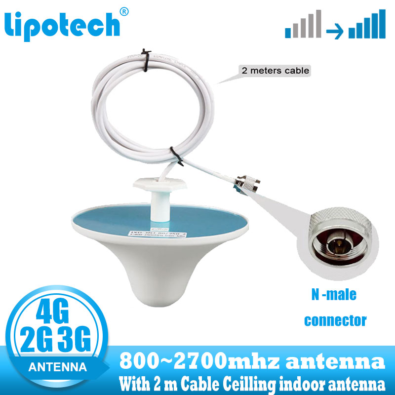 Lintratek 2G 3G 4G Ceilling Indoor Antenna N Type Connector 800-2700hz  Internal Mobile Phone Signal Omni Antenna With 2 M Cable
