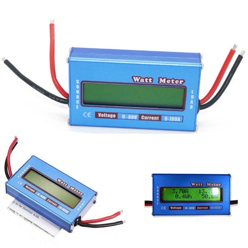 Simple DC Power Analyser Watt  Volt Amp Meter 12V 24V Solar Wind Analyzer Blue