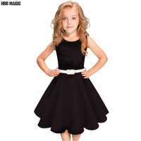Black Red Summer Girls Dress Sleeveless Cotton Princess Dress Kids Clothes Elegant Girls Wedding Party Dress