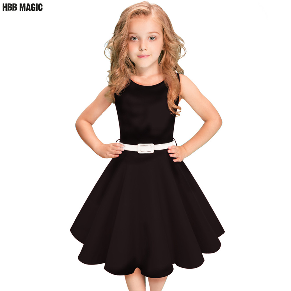 Black,Red Summer Girls Dress Sleeveless Cotton Princess Dress Kids Clothes Elegant Girls ...