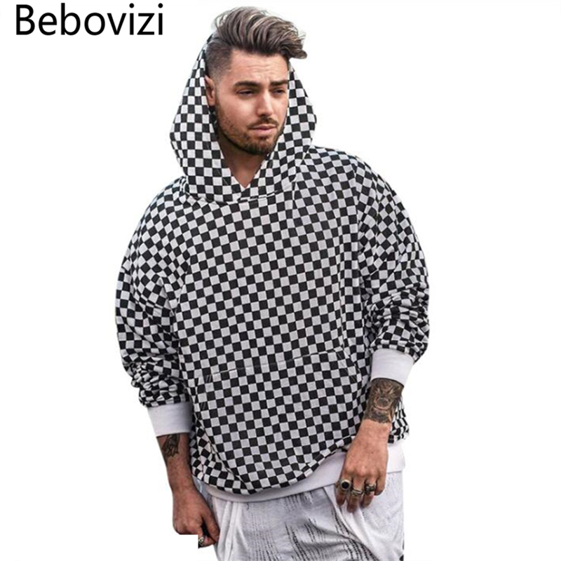 Bebovizi Checkerboard Plaid Hoodies Mens Autumn Winter Sweatshirts Streetwear Hip Hop Casual Cotton Pullover Skateboard Hoodie