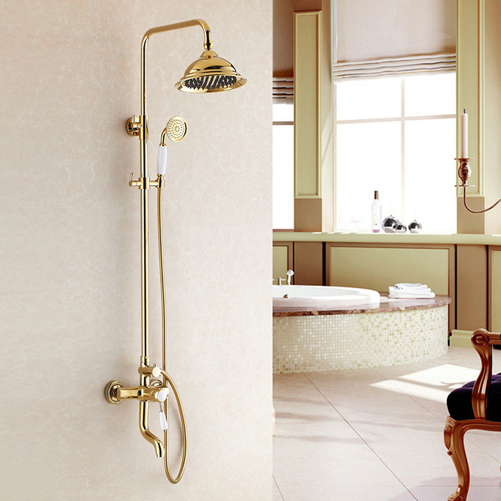 Italy design Gold Finish Bathroom bath& Shower Faucet 8Brass Shower Head Ceramic Handles Mixer Tap set