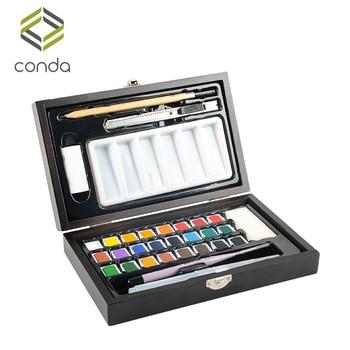Conda jednolity kolor wody farby Aquarela akwarele początkujących 24 kolory drewniane pudełko twarda pocztowy Aquarelle Art Set dla dzieci
