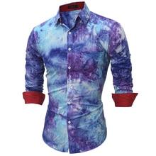 Mens Shirt 2017 Fashion Long Sleeve Personalized Printing Dress shirt New Brand Chemise Homme Men Slim