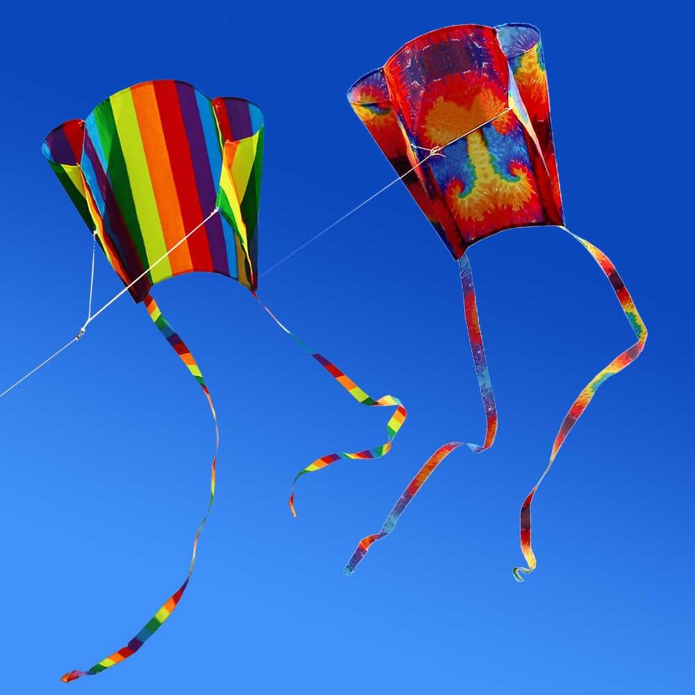 Радужный воздушный змей Parafoil с хвостами 200 см, 30 м, летающий воздушный змей для улицы, мягкий летающий змей Brinquedos Для детей, воздушный змей для трюков, легко Летающий