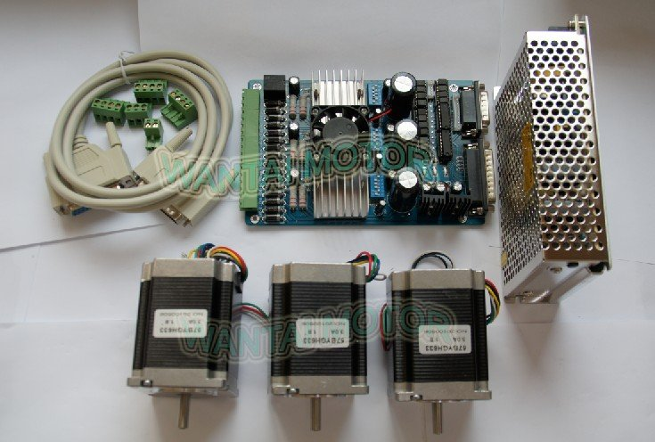 High Quality Nema 23 Stepper Motor 290oz-in,3.0A +3 Axis Board CNC MACH3 Kit of Wantai free ship to USA, CA,AU, NZ,UK,DE,IT,FR  цена и фото