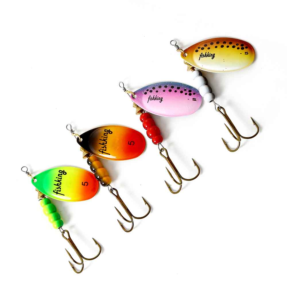 FISH KING 3.5 4.5 6.5 9.5 14g Hard Lure Artificial Wobblers For Trolling Metal Fishing Lure Spinners Spoon Trout For Pike